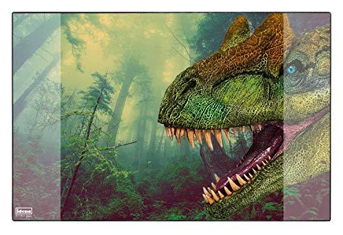 Idena 10452 - Schreibtischunterlage mit zwei Einstecktaschen, Dinosaurier, ca. 58,5 x 38,5 cm groß, praktisches Zubehör für Kinder-, Jugend- und Arbeitszimmer
