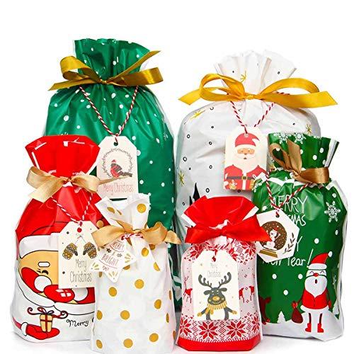Yiran - Sacchetti regalo natalizi con coulisse, 30 pezzi assortiti, per regali di Natale o per compleanni, con etichette regalo di Natale Confezione da 30