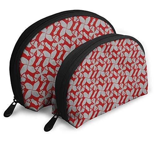 Hunde mit Ketchup Tragbare Muschel Form Reise Make-up Tasche Halbmond Geldbörse Handtasche Handtasche Handgelenk Kosmetiktaschen inklusive 2 Größen