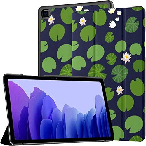 Funda para Samsung Galaxy Tab A7 Tableta de 10,4 Pulgadas 2020 (sm-t500 / t505 / t507), Patrón sin Costuras Pequeñas Almohadillas de Lirio Verde Cubierta de Soporte de múltiples ángulos con activació