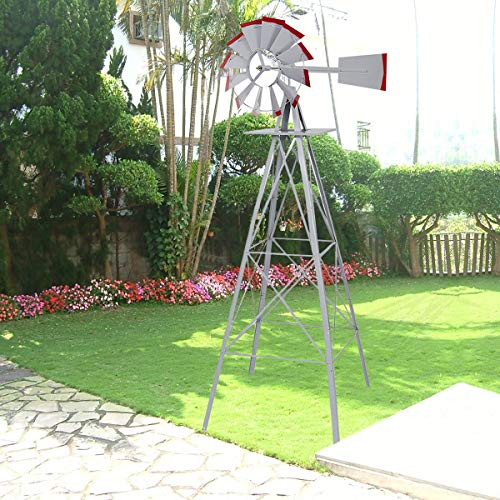 General New 8.2 Ft Tall Windmill Ornamental Wind Vibrational Wheel Silver Gray and Red Garden Weather Vane Produces Vibration to Scare Garden Animals mole Chaser Storm Predicts (Assembly Requires)