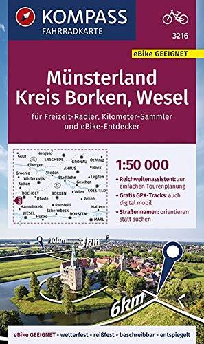 KOMPASS Fahrradkarte Münsterland, Kreis Borken, Wesel 1:50.000, FK 3216: reiß- und wetterfest (KOMPASS-Fahrradkarten Deutschland, Band 3216)