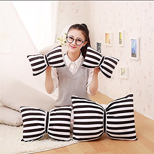 Global- Bow rayé Coussins d'oreiller Noir et Blanc Voiture de Bureau Salon Chevet Sieste Coussin