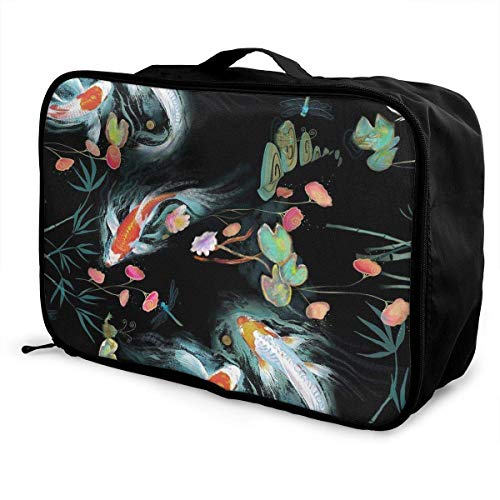Qurbet Reisetaschen,Reisetasche, Portable Luggage Duffel Bag Colorful Fish Travel Bags Carry-on in Trolley Handle