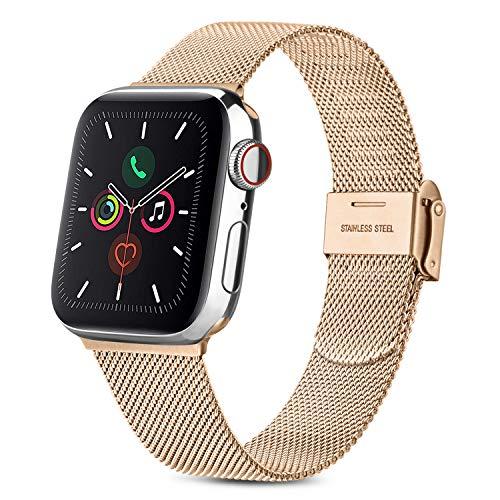 AK - Correa compatible con Apple Watch de 44 mm, 42 mm, 40 mm, 38 mm, con cierres de hebilla ajustables para iWatch Series 6/5/4/3/2/1/SE (oro rosa, 38 mm/40 mm)