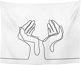 Tarolo Decor Wall Tapestry Abstract Continuous Line Drawing Hands Palms Together Single Creative Sketch 80 x 60 Inches Wall Hanging Picnic for Bedroom Living Room Dorm