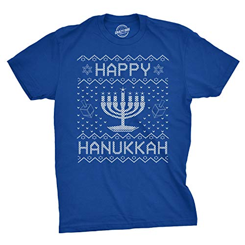 Mens Happy Hanukkah Tshirt Funny Jewish Christmas Menorah Tee for Guys (Royal) - L