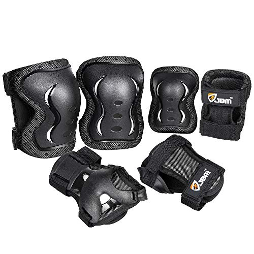 JBM Kids Knee and Elbow Pads with Wrist Guards Protective Gear Set, Impact Resistance for Your Children Outdoor Activities' Adventure (Black, Medium (9-13 Years))