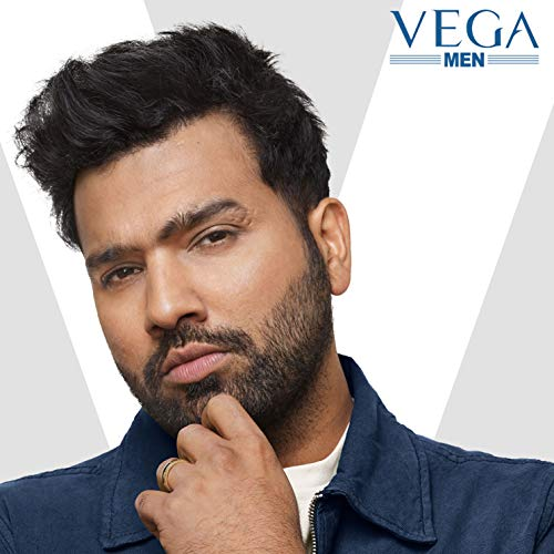Vega T-1 Beard Trimmer for Men, Stainless Steel Blades, Cordless & Rechargeable, 1N, Black, 220 Grams