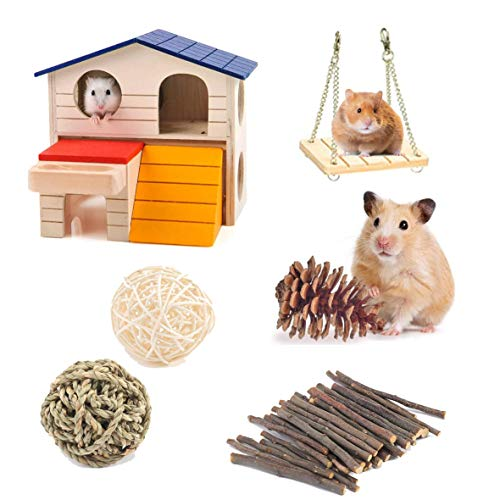 Genérico Hamster chew Toys, Guinea Pig cage, Hamster Toys Gerbil Toys 6 Pack, Hamster Hideout