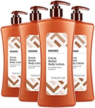 Amazon Brand - Solimo Cocoa Butter Body Lotion, 24.5 Fluid Ounce (Pack of 4)