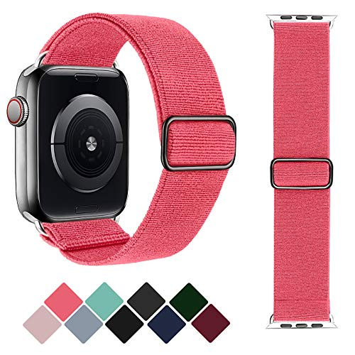 Greatfine Stretchy Solo Loop Strap Compatible with Apple Watch Bands 38mm 40mm,Elastic Nylon Braided Band&Adjustable Buckle Women Men Sport Watch Bands for iWatch Series 6/5/4/3/2/1 SE(Grapefruit)