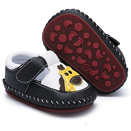 HsdsBebe Baby Boys Girls Pu Leather Hard Bottom Walking Sneakers Toddler Rubber Sole Fisrt Walkers Infant Cartoon Crib Shoes (12-18 Months, A-Black)