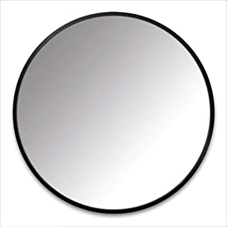 Mirror - Round Wall Mounted Bathroom, Home Metal Frame, Nordic Minimalist Style (Color : Black, Size : 70cm)