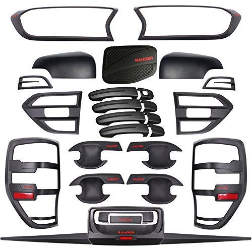 QQKLP Fit für Ford Ranger T7 Full Body Kits Tuning Autozubehör Mattschwarz ABS Plastik Car Styling Molding Zubehör 2015 2016 2017 2018 2019,Schwarz