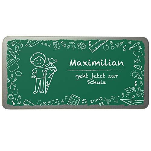 Schokoladen-Box zur Einschulung mit Name Bedruckt (Motiv 2)- Gutscheinbox für Jungen und Mädchen, Geschenkdose aus Metall, nachhaltig, personalisiertes Einschulungsgeschenk