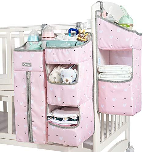 Aufhängetasche für 3-in-1-Kinderbetten, abnehmbarer Wickelkommode Organizer, multifunktionaler Windel Organizer mit großer Kapazität (Rosa)