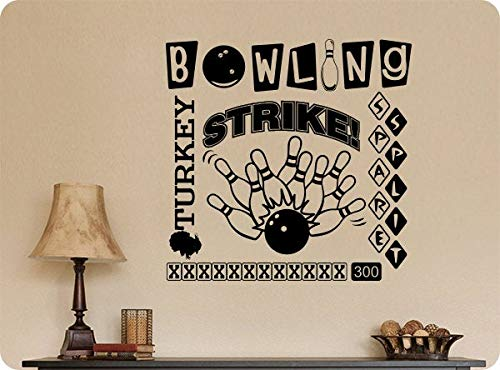 Bowling spreuken stickers Art Strike Spare Spare Gutter Ball Pins Muursticker Art Home Decor