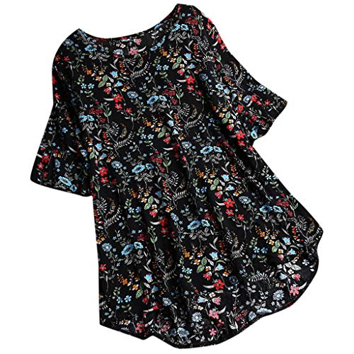 Mode Dames Shirt Tops Plus Size Casual O-hals Linnen Vintage Bloemen Print Bell Korte Mouw T-Shirt Losse Blouse Maat 10-22 UK