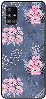 Protective Case Cover For Samsung Galaxy A51 Pink Flowers Dark Grey Floral Pattern