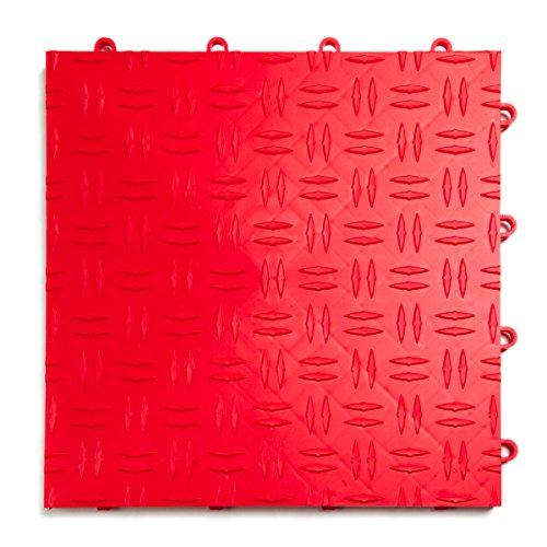 GarageTrac Diamond, Durable Interlocking Modular Garage Flooring Tile (24 Pack), Red