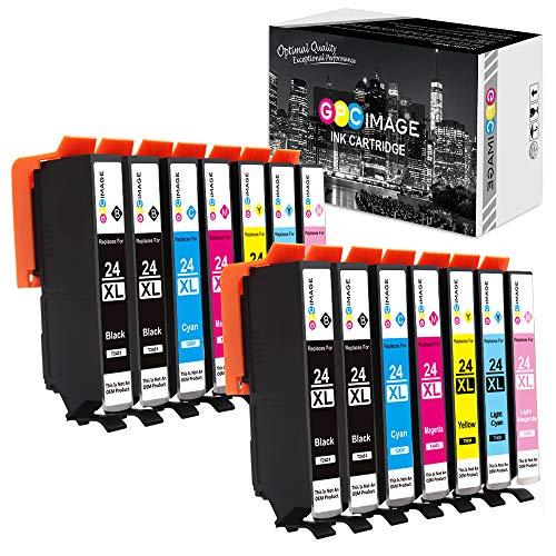 GPC Image 24XL Kompatibel Druckerpatronen Ersatz für Epson 24 XL für Expression Photo XP-55 XP-750 XP-760 XP-850 XP-860 XP-950 XP-960 Drucker (4 Schwarz/2 Cyan/2 Magenta/2 Gelb/2 LC/2 LM, 14-Pack)