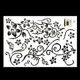 Soledi® Miryo-Pegatinas de vides de flores y mariposas decorativos vinilos de pared familiares desmontables impermeables color negro