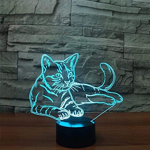 LED 3D Ilusión lámpara para habitación infantil Descansando gato Tuco lámpara de escritorio creativa para cumpleaños Cambio de color colorido, con interfaz USB