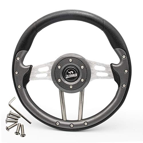CLUBRALLY Golf Cart Steering Wheel, Generic for Most Golf cart EZGO Club Car Yamaha-Black Dark Gray