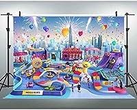 新しいJSCTWCL10x7ft子供の遊び場の背景のテーマパークの写真ブースの背景スタジオの小道具344