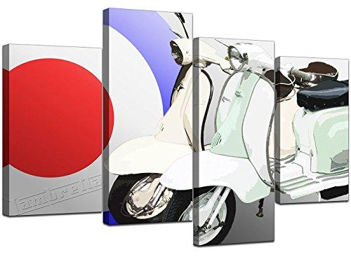 4150 Leinwandbild, mit Motorroller-Motiv, 60er Stil, Kunstdruck, groß, Rot