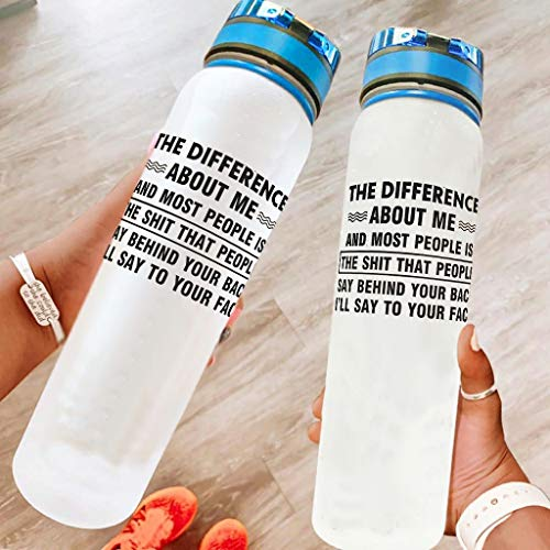 superyu Botella de agua transparente para bicicleta – 32 onzas The Difference About Me Free No Toxic Sports Bottle para deportes al aire libre blanco 1000ml