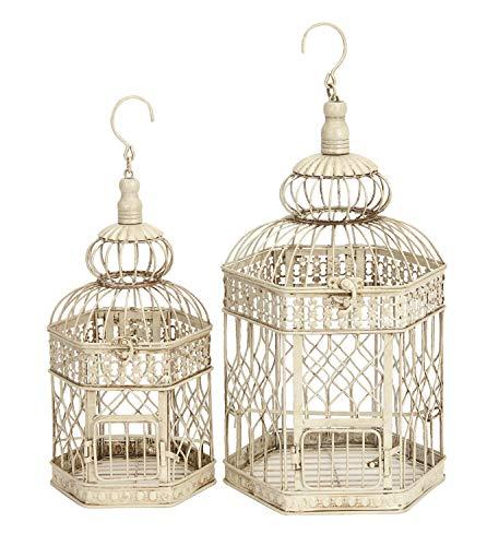 Deco 79 en métal Cage à Oiseaux, 53,3 cm et 45,7 cm, Lot de 2