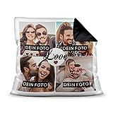 Kissen mit Füllung - Fotocollage selbst gestalten mit Spruch - Love - mit Vier eigenen Fotos - Geschenkidee Fotokissen - Farbkissen Rückseite Schwarz