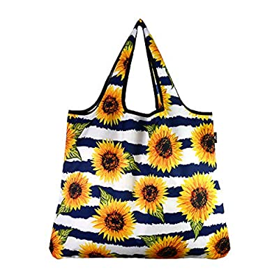 YaYbag JUMBO Size, Fashionable Reusable Shopping Bags, Reusable Grocery Bags, Reusable Produce Bags, Washable Reusable Bags, Foldable Reusable Bags, 55 lbs Heavy Duty Polyester, Sunflower