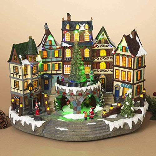 Animated Musical Dickens Christmas Village with Lights and Rotating Tree - Tabletop Home Decor Holiday Decoration