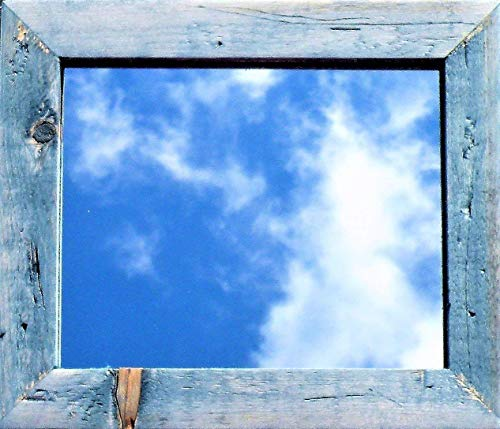 Handmade Vintage Blue Farmhouse Mirror, Rustic Barn Wood Style Hand Crafted Mirror, Distressed Denim Blue Mirror, Worn Blue Wood Stain Framed Mirror, Blue Vanity Bathroom Mirror