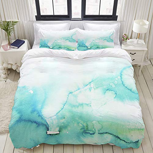 LONSANT Teal Watercolour Watercolor Turquoise Mint Ombre Hand Blue Gradient Color Water College Dorm Room Decor Decorative Custom Design 3 PC Duvet Cover Set Twin/Twin Extra Long
