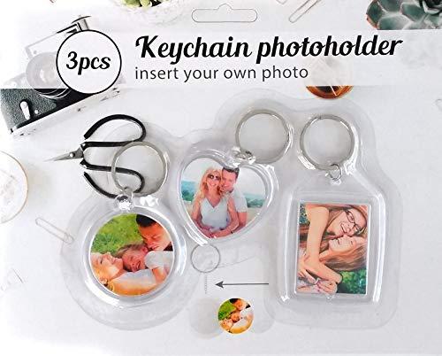 ac. Foto sleutelhanger 3-delig 1x klassiek 1x rond 1x hart fotolijst fotohanger