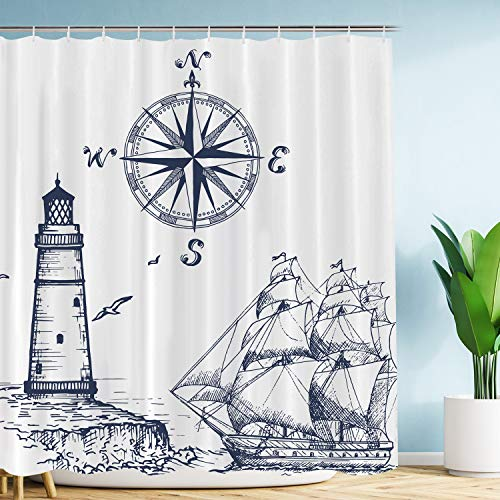 "VIMMUCIR Sail Boat Nautical Shower Curtain, Lighthouse and Compass Navy Blue Print Bathroom Decor, Waterproof Fabric Curtains for Bathroom, Stalls and Bathtubs, 72"" W x 72"" H"