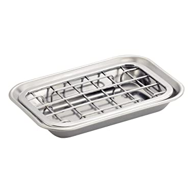 iDesign Gia Bar Soap Dish for Bathroom Vanities, Kitchen Sink - 2 Piece, Polished