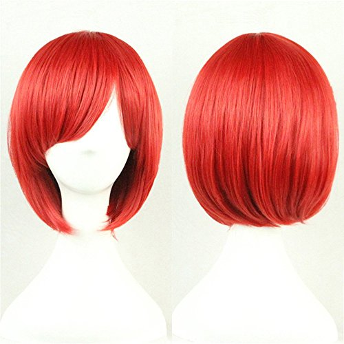 Short Red Bob Wig Straight Wigs for Women Wigs with Oblique Bangs 11 Inch BU029R