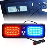 Xprite Red Blue 86 LED SunShield Sun Visor Emergency Strobe Lights 12 Flash Modes Hazard Police Warning Light for Law Enforcement Vehicle
