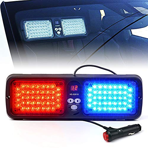 Xprite Red Blue 86 LED SunShield Sun Visor Emergency Strobe Lights 12 Flash Modes Hazard Police Warning Light for Law Enforcement Vehicle