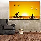 ganlanshu Quadro su Tela HD Padre e figlio digitali Animali Sunset Landscape Wall Art Picture Animal Canvas60X90cm
