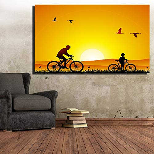 Rahmenlose MalereiHD Digital Vater und Sohn Tiere Sonnenuntergang Landschaft Wandkunst Bild Tier Leinwand50X75cm