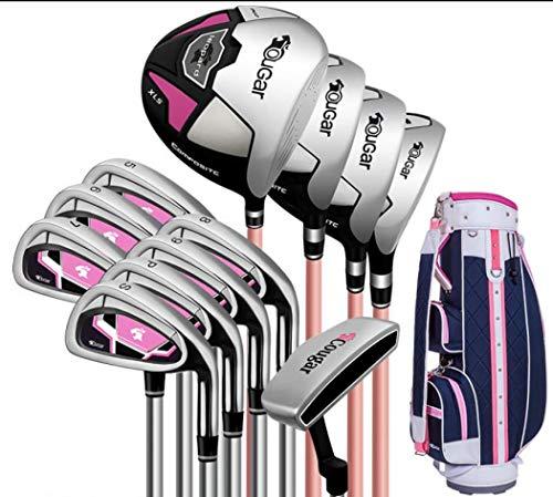 FORIDE Damen-Golfschläger-Set für Rechtshänder, mit Golfschlägern und Standtasche, für Damen und Anfänger (12 Stahlschäfte Standard-Paket)