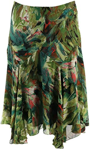 Bob Mackie Floral Print Pull-On Woven Skirt Olive Multi M New A293823