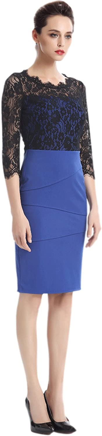 Unomatch Women's Lace Decorated Top Bodycon Dress bluee