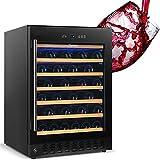 24 Inch Wine Cooler Beverage Refrigerator, SKANWEN 54 Bottle Storage Wine Fridge Constant Digital...